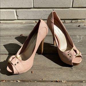 Women's JustFab peek toe platform heels